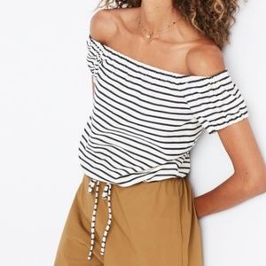 Madewell Melody Stripe Off the Shoulder Top Small